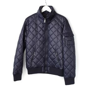 French Connection Quilted Bomber, Blue - Size L